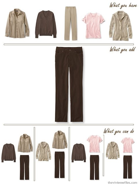 add brown corduroy pants to a brown, khaki and pink wardrobe