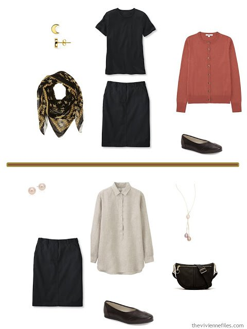 A travel Capsule Wardrobe color palette inspired by art: Owl on Ginko Branch by Ohara Koson