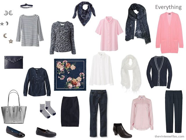 navy and pink travel capsule wardrobe