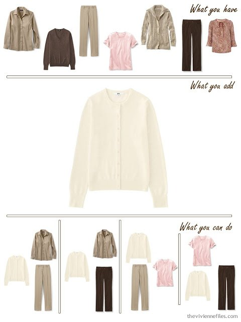 add an ecru cardigan to a brown, beige and pink wardrobe