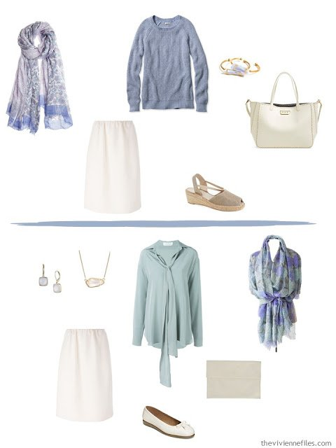 A Travel Capsule Wardrobe in Beige, mauve, blue, and green, inspired by Branch of the Seine by Claude Monet