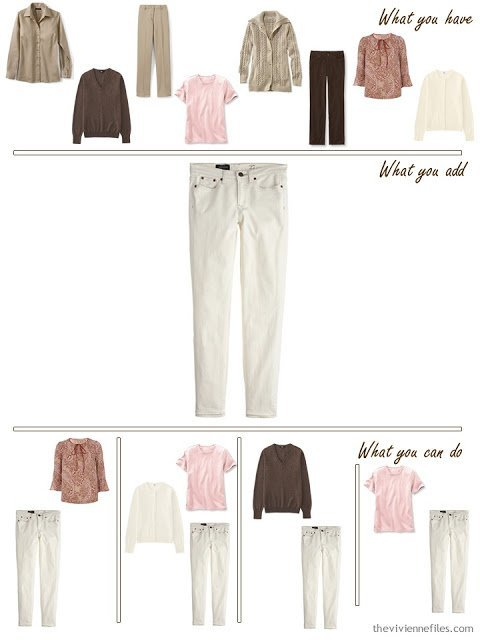 add ecru jeans to a brown, khaki and pink wardrobe