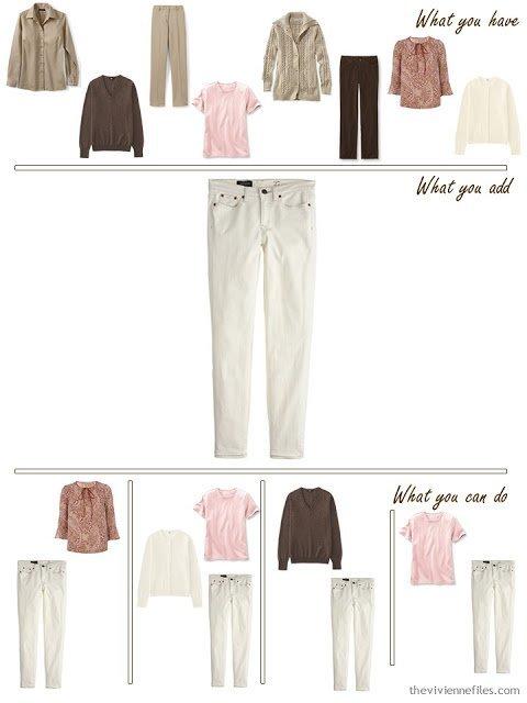 add ecru jeans to a brown, khaki and pink wardrobe
