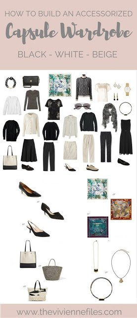 How to add accessories to a capsule wardrobe in a black, white, and beige color palette