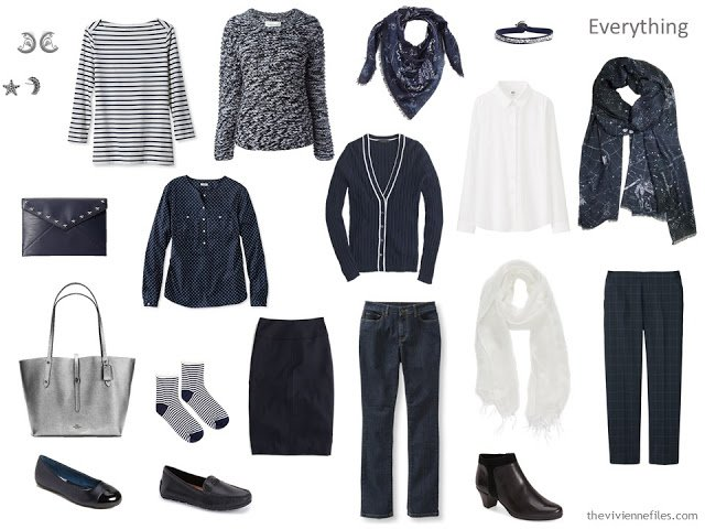 A capsule wardrobe in a navy, grey, black, and white color palette