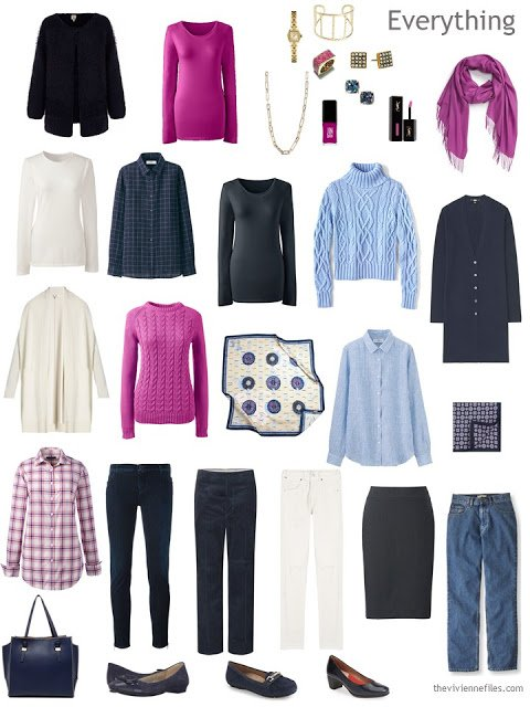 16-piece travel capsule wardrobe in navy, hot pink, light blue and ivory