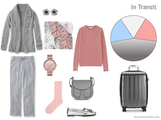 cool-weather travel outfit in grey, peach and light blue