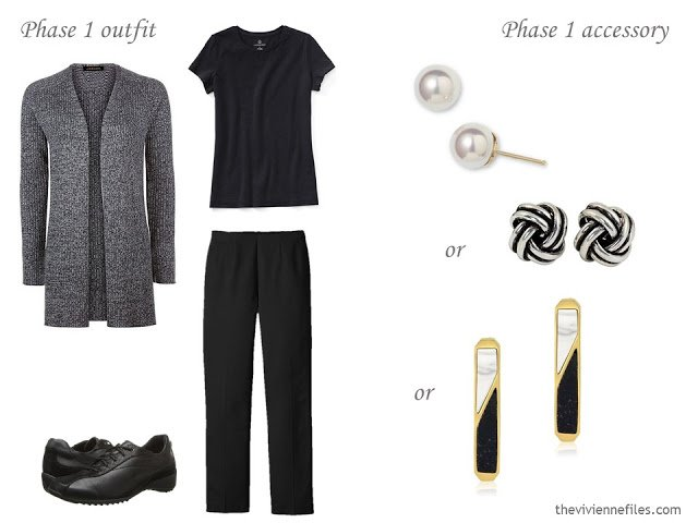 black and white travel outfit with a choice of earrings