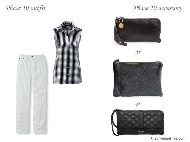 three choices of black wristlets to carry with a classic summer outfit