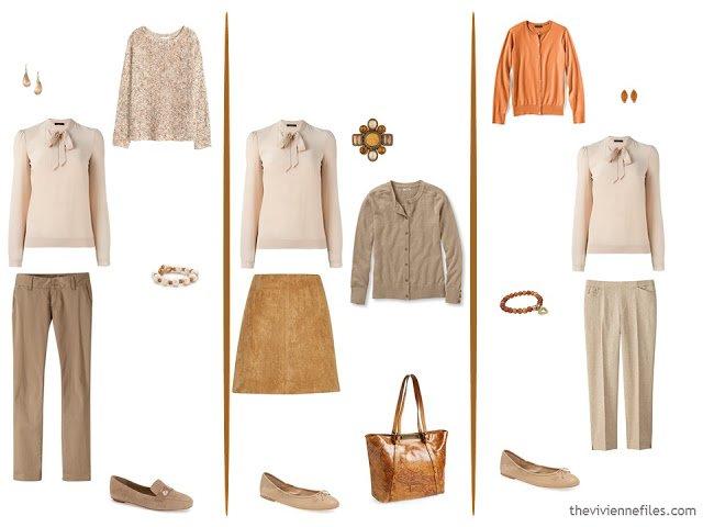 3 ways to wear a beige blouse