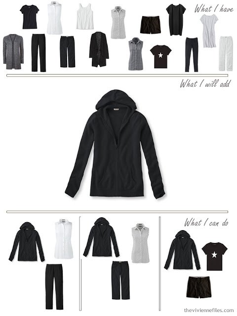 add a black hooded sweatshirt to a travel capsule wardrobe