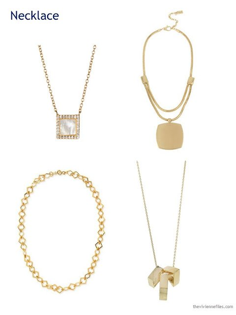 four square gold necklaces/pendants