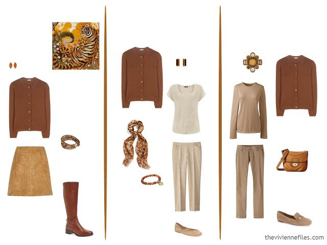 3 ways to wear a rust cardigan
