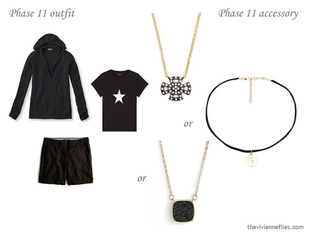 three choices of black necklaces to wear with a summer outfit