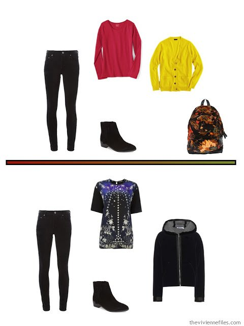 2 outfits for cool weather, including black jeans