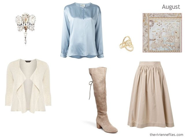 cardigan, blouse and skirt in cream, soft blue and beige