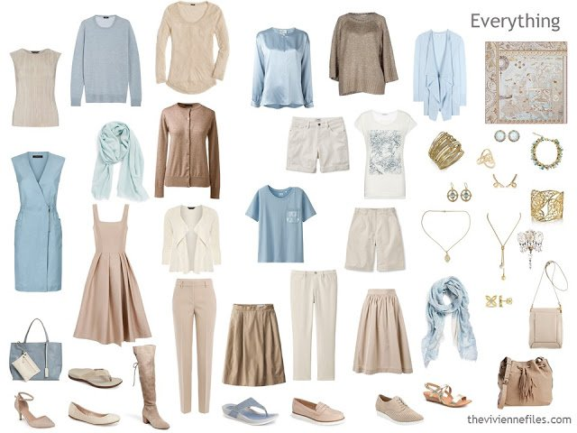 Capsule wardrobe in beige, ivory and soft blue