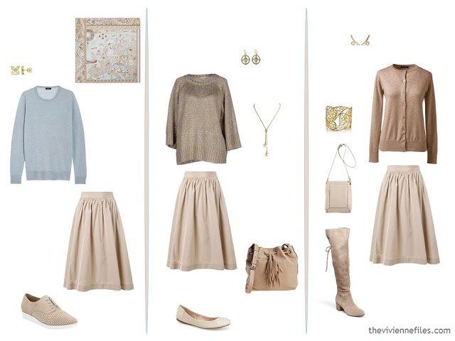 3 ways to wear a beige skirt