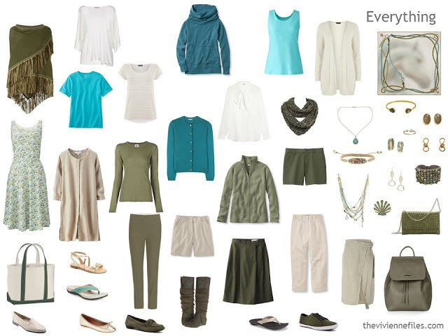 capsule wardrobe in olive, ivory and teal