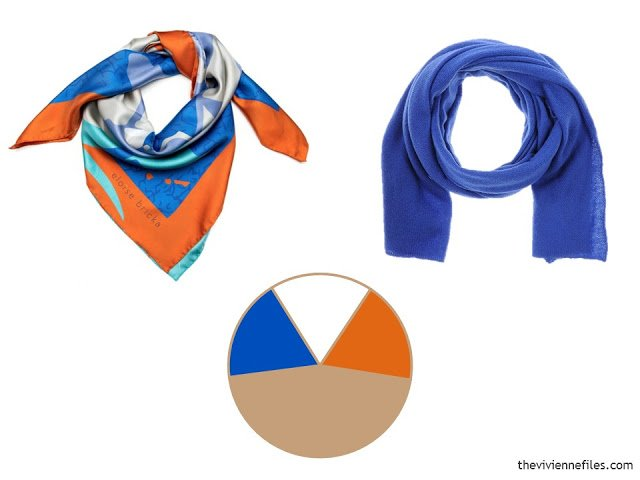 two scarves, in orange, bright blue and white, with a color scheme including beige