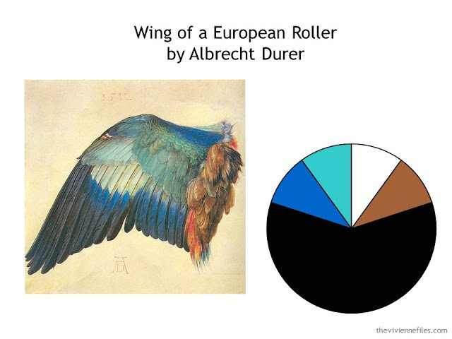 Wing of a European Roller by Albrecht Durer along with a color scheme drawn from the image