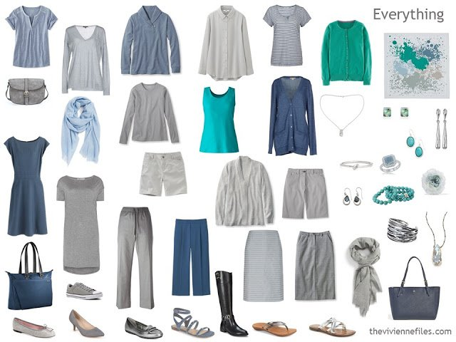 capsule wardrobe in slate blue, grey and turquoise