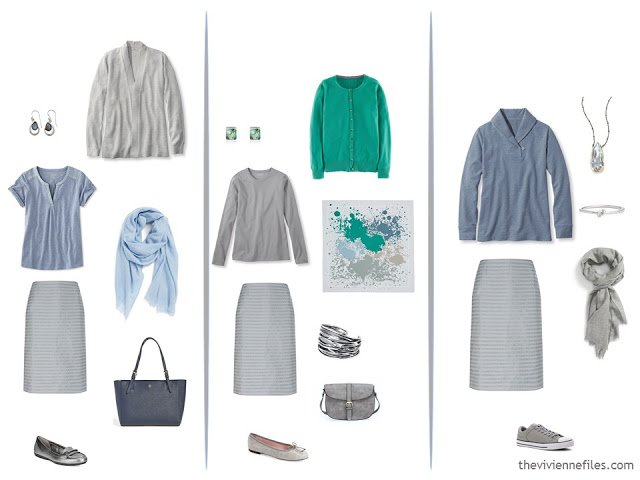 3 ways to wear a grey skirt, with petrol blue and turquoise