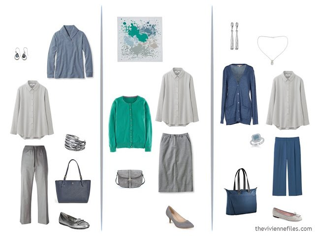 3 ways to wear a grey shirt, with slate blue and green