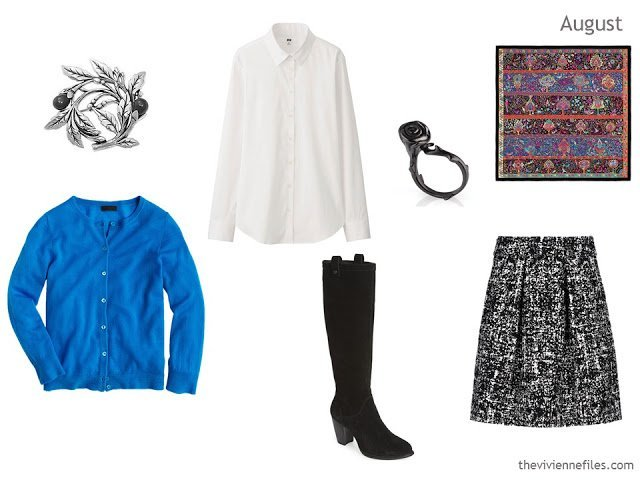 cardigan, blouse and skirt outfit in cobalt, white and black
