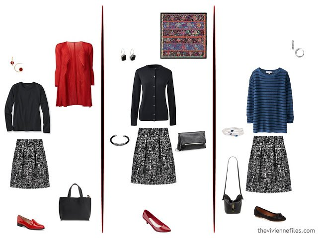 3 ways to wear a black and white tweed skirt, with red, black, and bright blue