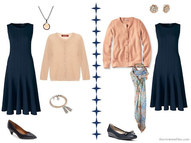 Two ways to wear a navy dress with peach