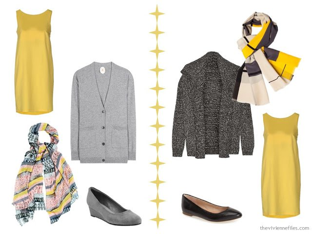 Two ways to wear a yellow dress with grey