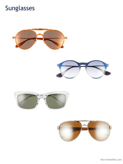 A Capsule Wardrobe in Beige, Bright Blue and Orange: Expanding Your Accessories - sunglasses