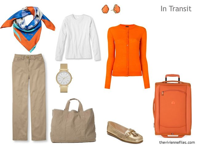 """Packing Light: A """"Six-Pack"""" Travel Capsule Wardrobe in Beige, Bright Blue and Orange"""