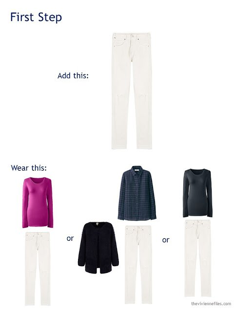 adding a pair of cream jeans to a travel capsule wardrobe