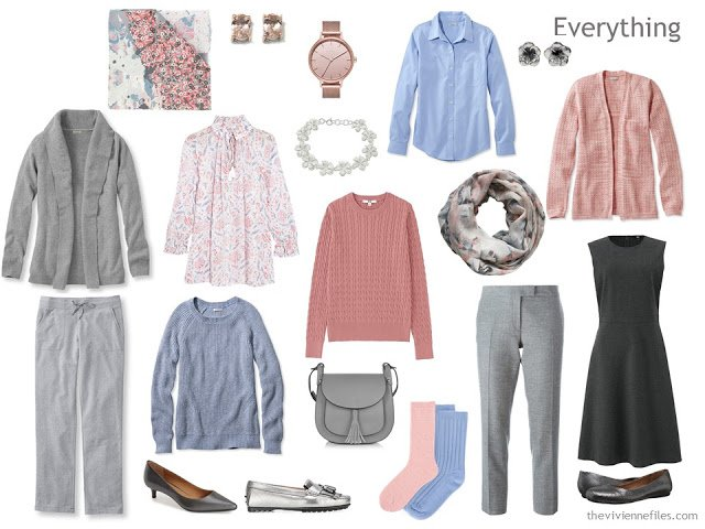 travel capsule wardrobe in grey, peach and light blue