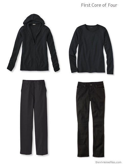 core of four garments - two tops and two bottoms - in black, for cool weather