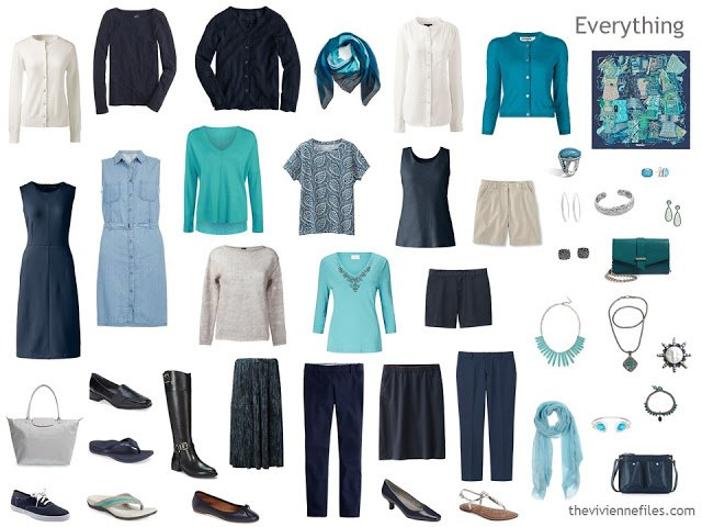 Capsule Wardrobe in navy, cream and teal or turquoise