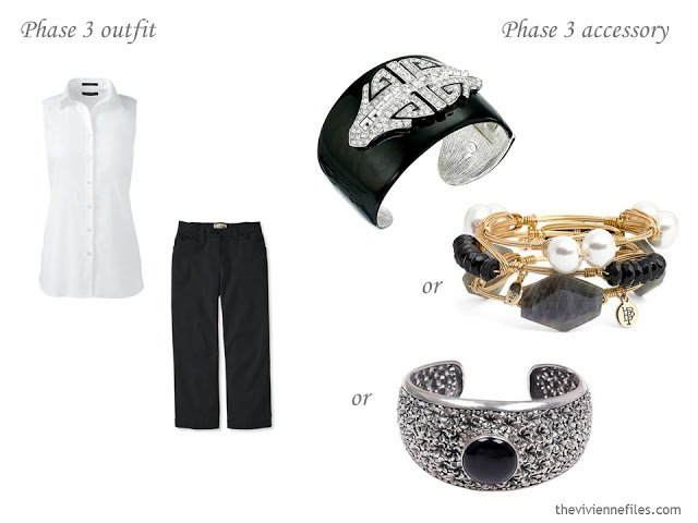 three bracelets to wear with a simple black and white warm-weather outfit