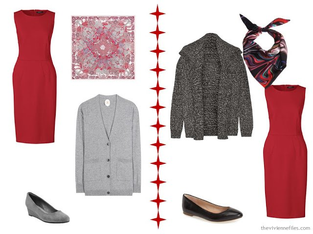 How to wear a red dress with a grey cardigan
