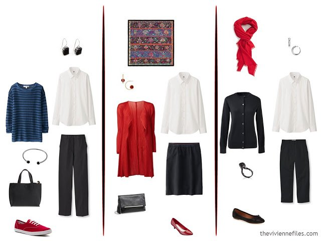 3 ways to wear a white blouse, with black, red and bright blue