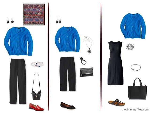 3 ways to wear a bright blue cardigan, with black
