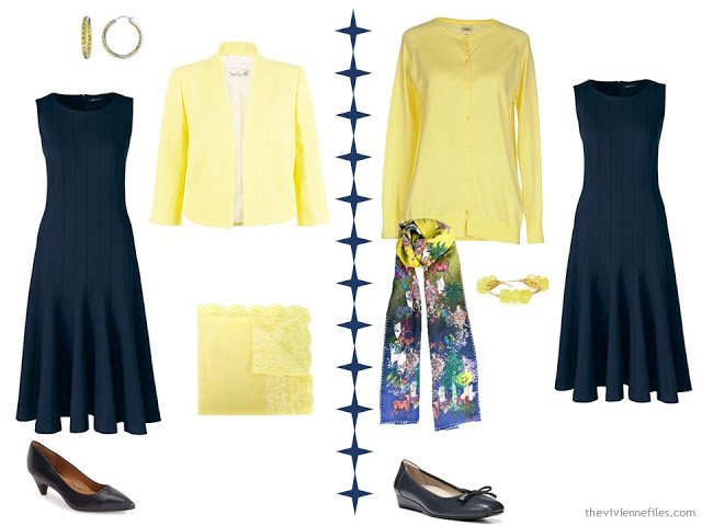 Two ways to wear a navy dress with light yellow