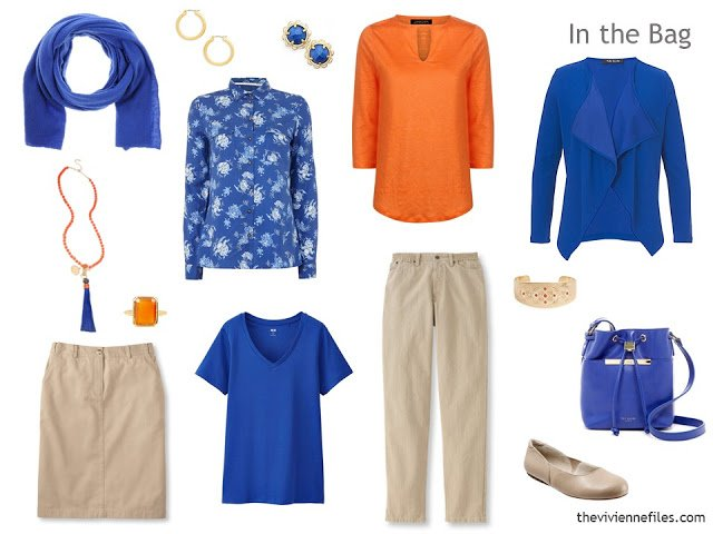 travel capsule wardrobe in tan, bright blue and orange