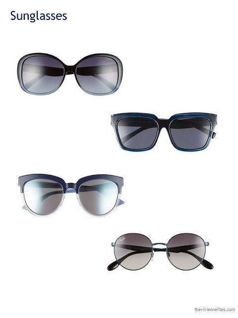 4 choices of navy blue sunglasses