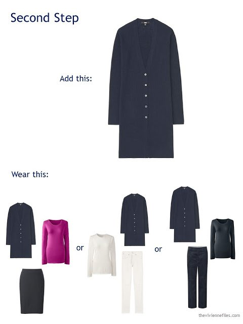 adding a navy cardigan to a travel capsule wardrobe