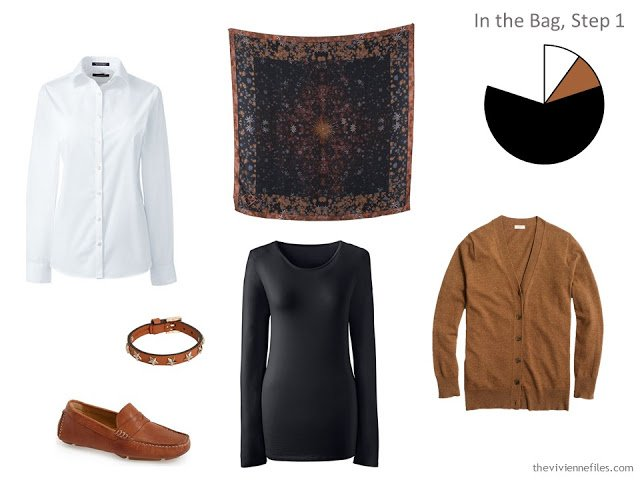A travel capsule wardrobe in black, blue, and brown inspired by Art: Wing of a European Roller by Albrecht Durer