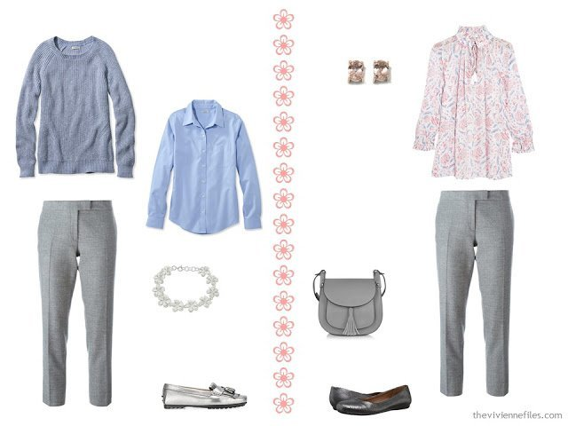 two travel outfits in grey, peach and light blue, with grey pants