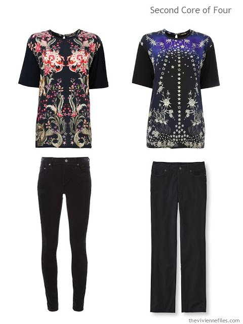 two tee shirts, and two pair of black jeans