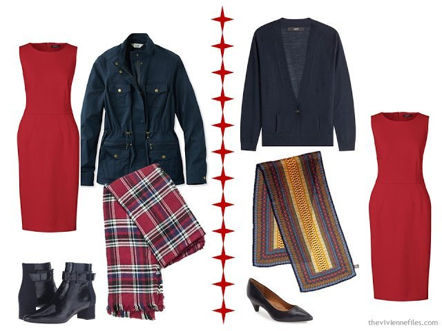 How to wear a red dress with a navy jacket or cardigan